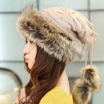 Winter Women Fur Hat Scarf (4 colors)