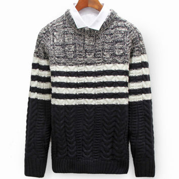 Fashion Thick Pullover men ugly christmas sweater Casual Spliced O-neck Sweater Knitwear Stripe Clothing dress mens MXD0050