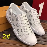 LV Flat Shoes Louis Vuitton Man Fashion Casual Shoes Print Lace up Shoes B/A White