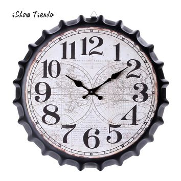 Vintage Style Wood Silent Wall Clock, Antique  Bottle Caps Shape, Non-Ticking, 13 Inch