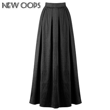 NEW OOPS Women Maxi Long Skirts Summer Blue Floor Length High Waist Pleated Tutu Skirt Femininas Formal Jupe Saias A1703039