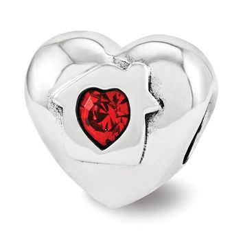Sterling Silver & Red Crystal Home Is Where Love Resides Heart Bead