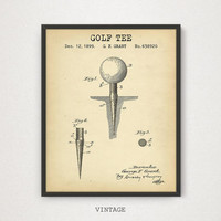 Golf Tee Patent Artwork, Digital Download, Vintage Golf Poster Prints, Golfing Decor, PGA, Golfer Gift, Golf Blueprint Wall Art, Golf Party