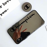 Champion tide brand couple bracket mirror glass iphone6 mobile phone case cover Black