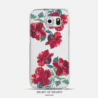 Red Roses Floral Transparent Clear Case for Samsung Galaxy s6 Edge, Samsung Galaxy s6, Samsung Galaxy s5
