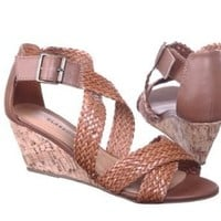 Strappy Braided Wedge Sandals