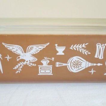 Vintage Pyrex Refrigerator Dish Brown and White Early American Pattern 1 1/2qt. 0503 With Cover