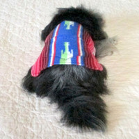 Cats'/Little Dogs' Mexican Serape Print Fleece Coat - Made to Order Red, Royal Blue, Green, Black & White with Pocket Min Pin