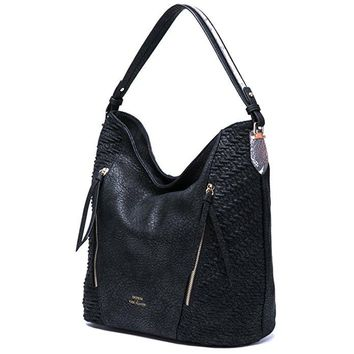 Nyla Black Textured Hobo Bag