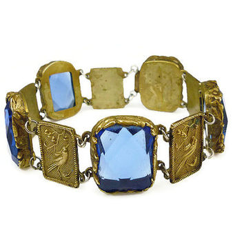 Antique Bracelet, Stylized Bird, Gold Plated, Sapphire Blue, Faceted Glass, Flower Vine, Vintage Jewelry