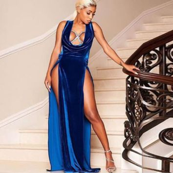 Blue Velvet Mistress Maxi Dress