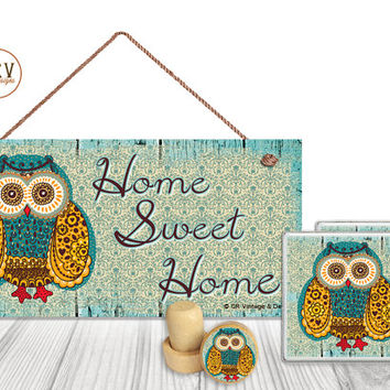 "Gift Set, 4 PC, Owl, Home Sweet Home, 5"" x 10"" Wood Sign, Two Drink Coasters, One Decorative Wine Stopper, Gift Package, Made To Order"