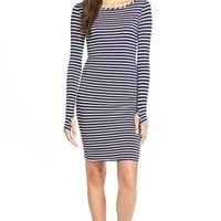 Junior Women's Socialite Stripe Long Sleeve Body-Con Dress,