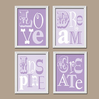 Lilac Purple Wall Art Girl Child Canvas Playroom Artwork Love Dream Inspire Create Life Quote Set of 4 Prints Decor Nursery Bedroom