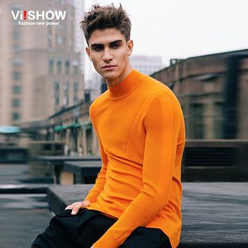 Viishow Brand Turtleneck Sweater Men Slim Sweater Fitness Knitted Sweater Pullover Men Clothes OverSize XXXL Z102353