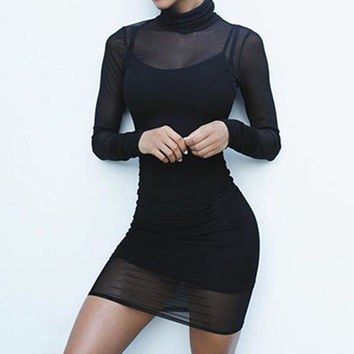 New Arrival 2017 Sexy Women Pencil Dresses Long Sleeve Ladies See-Through Two Piece Dress Bodycon Ve