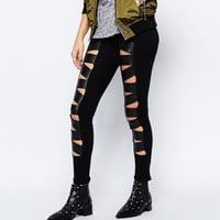 Tripp NYC Leather Look Insert Cut Out Leggings