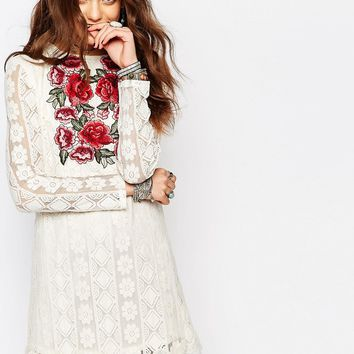 Young Bohemians Festival Shift Dress with Embroidered Rose Detail In Lace at asos.com
