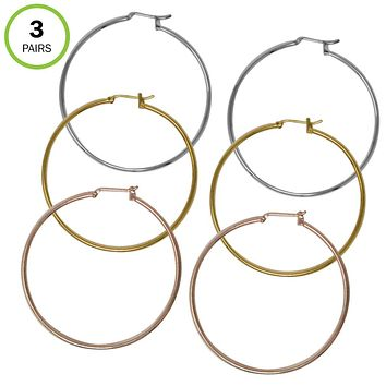 "Evelots Hoop Pierced Earring-Snap Post-1.75"" -3 Pairs (Gold-Silver-Rose)-Gift"