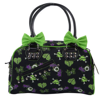 Banned Spooky Creepville Zombie Horror Love Goth Emo Bowler Purse