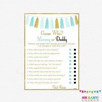 Mommy or Daddy Game, He Said She Said Baby Shower Game Boy, Blue Gold Baby Shower Games, Instant Download, Printable Sign Included TASBG