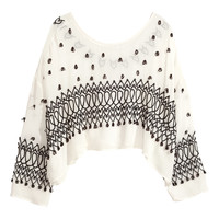 H&M - Embroidered Georgette Blouse - Natural white - Ladies
