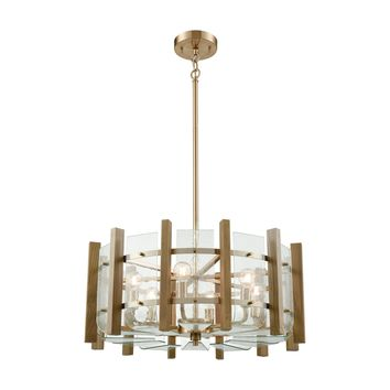 32334/6 Vindalia 6 Light Chandelier In Satin Brass With Wood Slats And Curved Glass - Free Shipping!