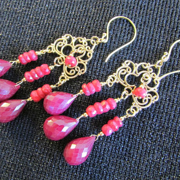 Genuine Ruby Earrings Drops Dangles Jewelry Rich Red African Ruby Chandeliers Bohemian Ruby Luxe by Josephine's Cotillion