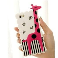 Animal Giraffe Silicone Soft Rubber Case Cover for iPhone 5 5G (White)