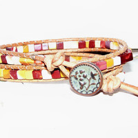 Earth Tone Mixed Color Mookaite Bead Leather Wrapped Stacking Bracelet Gunmetal Relief Flower Bouquet Button Closure Mossy Green Patina