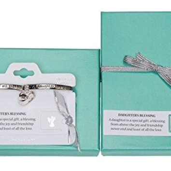 Daughters Blessing Heart Angel Charm Bracelet with Bookmark by Jewelry Nexus