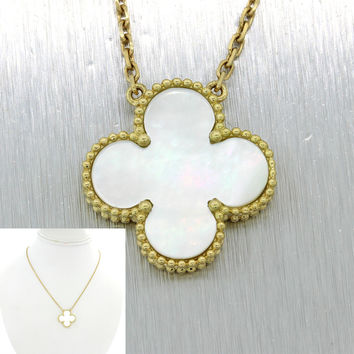 Van Cleef & Arpels Magic Alhambra 18k Yellow Gold Mother Of Pearl Necklace $4050