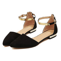 Black Suede Pointed Flat Shoes with Metallic Ankle Strap - Choies.com