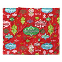 "Miranda Mol ""Ornate Red"" Ornaments Fleece Throw Blanket"