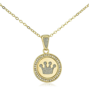 Stainless Steel Four Point Crown Sandblast Pendant on 19 Inch Link Necklace (Goldtone)