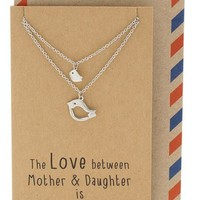 Arielle Mother Daughter Necklace with Bird Pendant, 2 Matching Necklaces
