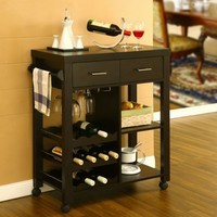 Anton Contemporary Mobile Kitchen Bar Cart