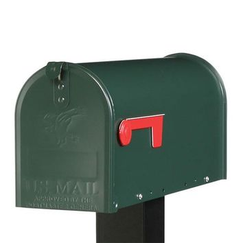 Gibraltar E1100G00 Elite Post Mount Rural Mailbox, Standard Size T1, Green