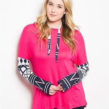 Plus Size Longer Fuchsia Hooded Aztec Trim Tunic Tops Size XL