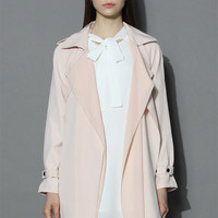 Inspirational Waterfall Trench Coat in Pink Pink