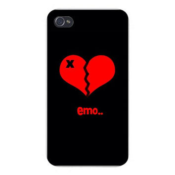 Apple Iphone Custom Case 4 4s Snap on - Broken Heart & 'X' Red 'emo' Text on Black