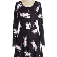 ModCloth Cats Mid-length Long Sleeve A-line Not Just a Kitty Face Dress in Cartoon