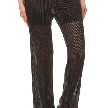 Mineral Wash Fishnet Pants - Black