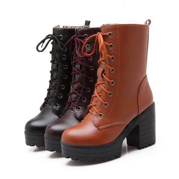 Lace Up Ankle Boots Chunky Heel Pumps Women Shoes Fall|Winter 5587