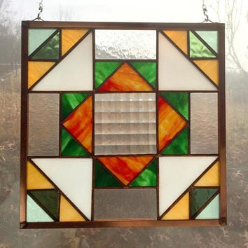 Handmade Stained Glass Quilt Square Hanging Panel in Textured Clear, Fall Colors, Appalachian Traditional Folk Art Dove in the Window