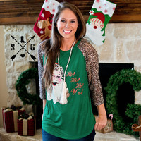 Santa Clause HoHoHo! Y'all Green Leopard Raglan