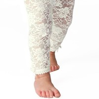 Baby Emporio - Baby Girl Lace Leggings-Off-White-12-18 M