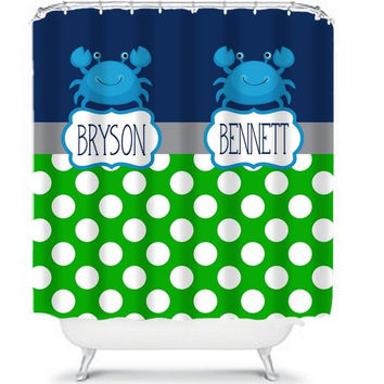 Brothers Shower Curtain Monogram Name Boy Girl Sister Navy Blue Green Crab Polka Dot CUSTOM Choose Colors Navy Hot Pink Bathroom Bath USA