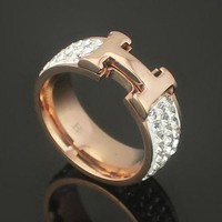 Hermes Women Fashion Diamonds Plated Ring Jewelry