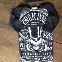 Guns N Roses band baby gown with knot hat